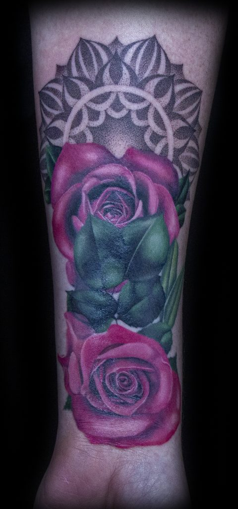 Emily Graven Tattoo Artist color flowers 2