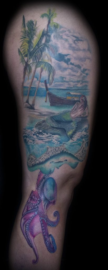 Emily Graven Tattoo Artist color mermaid and beach 2