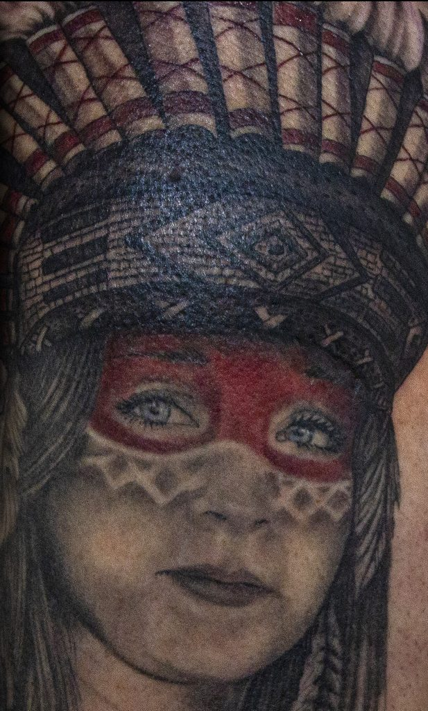 Lisa DeLauder Tattoo Artist Native American Portrait 3