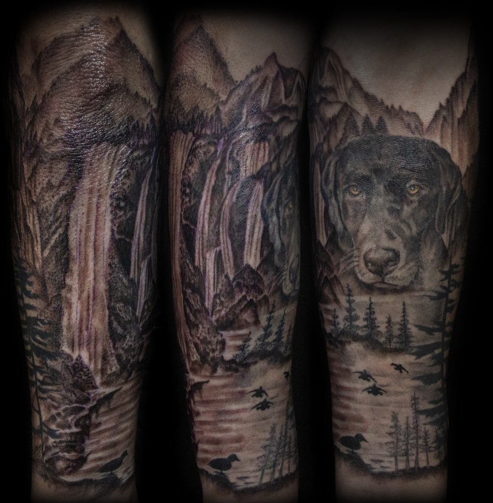 Lisa DeLauder Tattoo Artist black and grey Dog Portrait