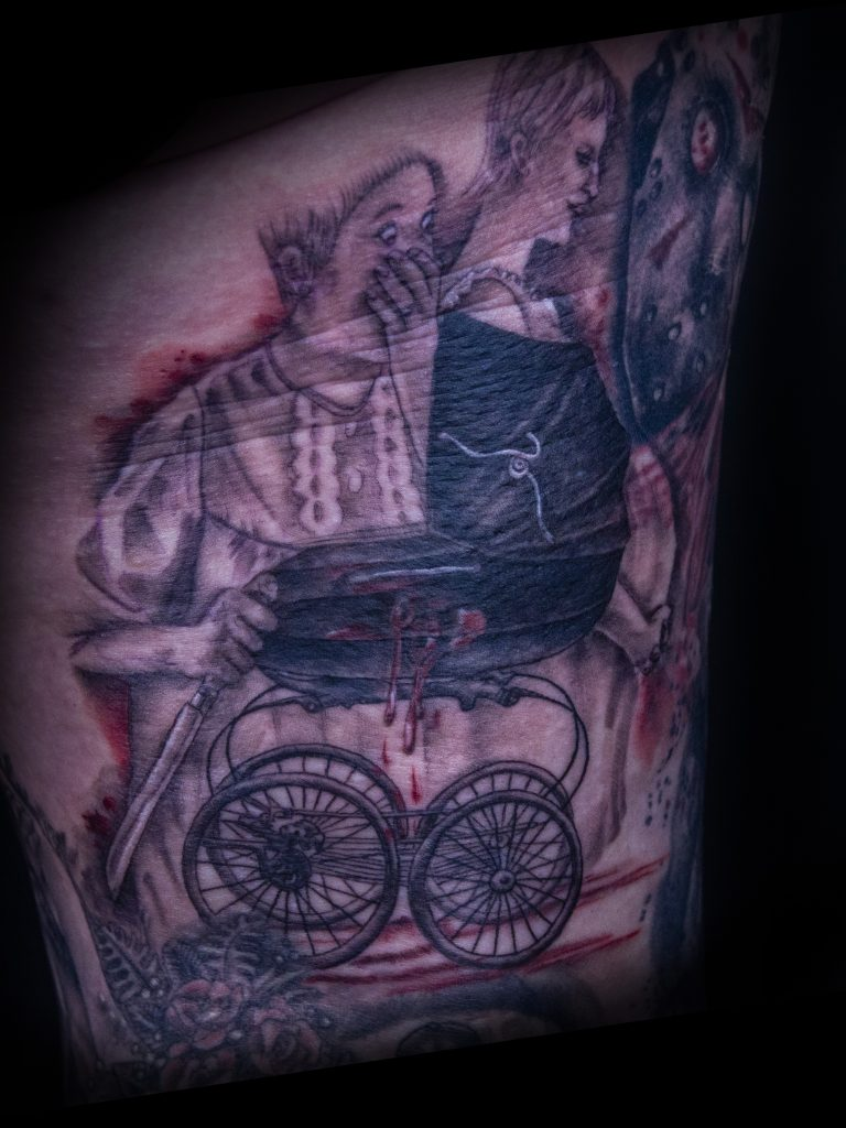 Lisa DeLauder Tattoo Artist horror movie leg 4